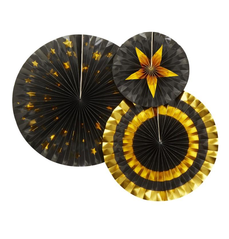 Set de 3 abanicos decorativos variados de papel - Glitz & Glamour Black & Gold