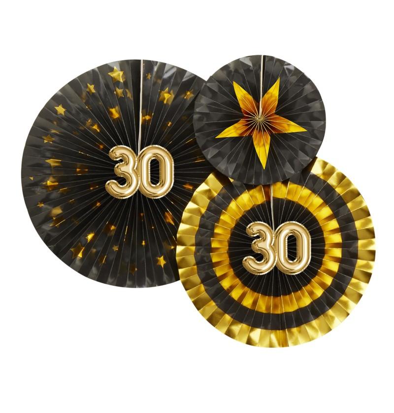 """Set de 3 abanicos decorativos variados """"30"""" - Glitz & Glamour Black & Gold"""