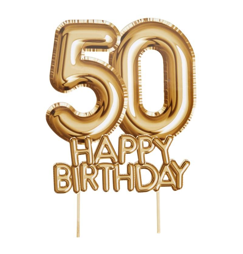 "Decoración para tarta ""50 Happy Birthday"" en dorado - Glitz & Glamour Black & Gold"