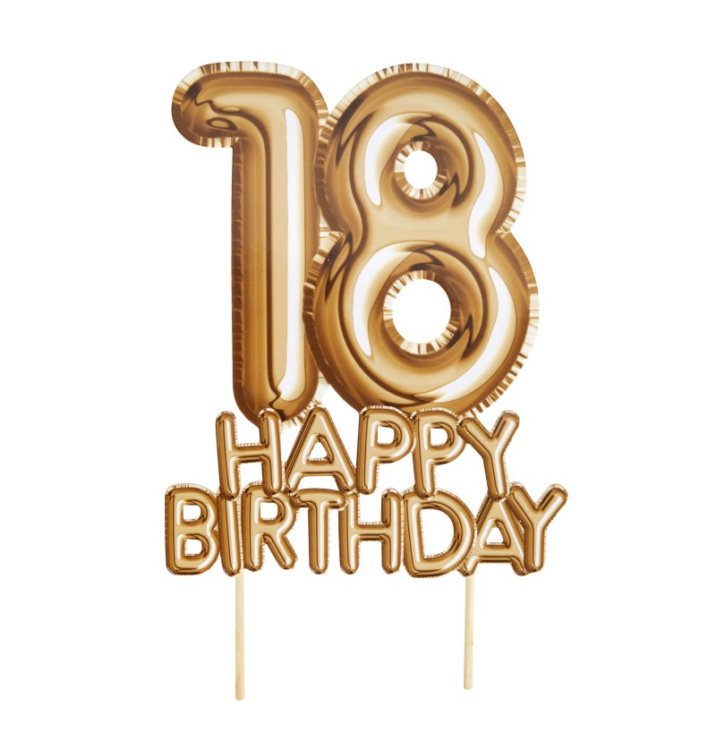"Decoración para tarta ""18 Happy Birthday"" en dorado - Glitz & Glamour Black & Gold"
