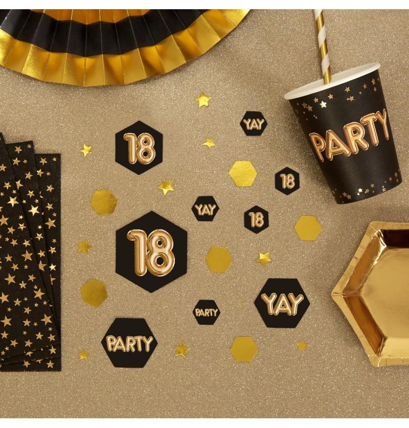 "Confeti para mesa ""18"" - Glitz & Glamour Black & Gold"