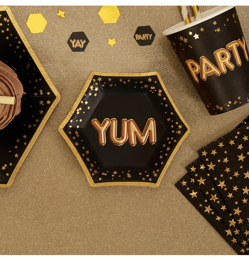 "Set de 8 platos hexagonales ""Yum"" de papel - Glitz & Glamour Black & Gold"