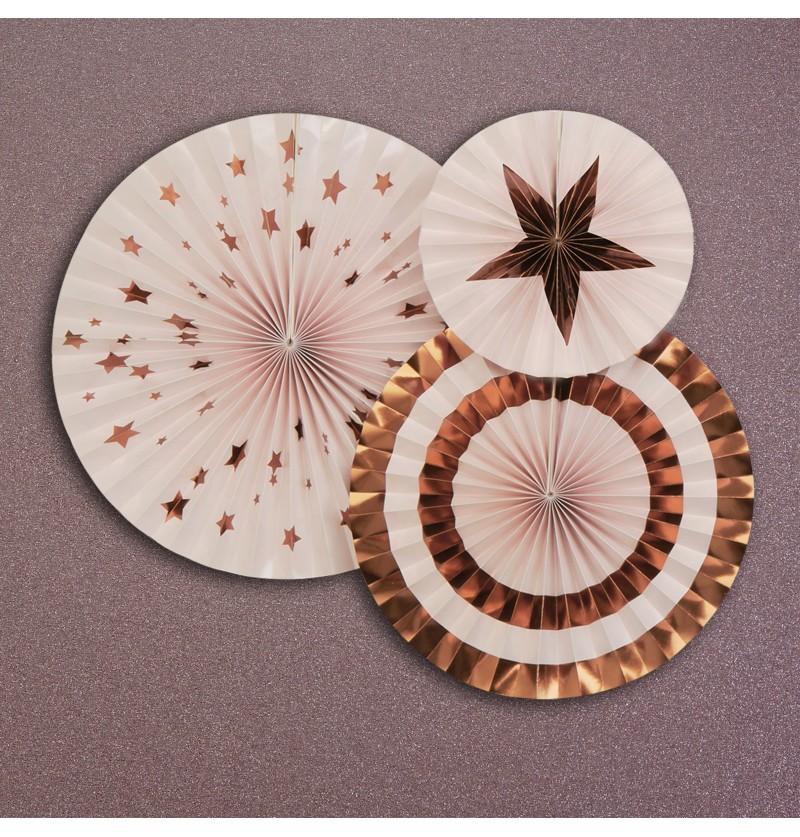 Set de 3 abanicos decorativos variados - Glitz & Glamour Pink & Rose Gold
