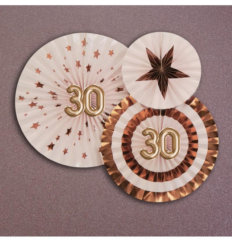 """Set de 3 abanicos decorativos variados """"30"""" - Glitz & Glamour Pink & Rose Gold"""