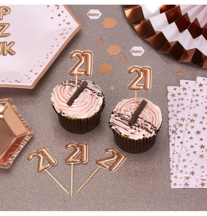 "Set de 20 palillos decorativos ""21"" en oro rosa - Glitz & Glamour Pink & Rose Gold"