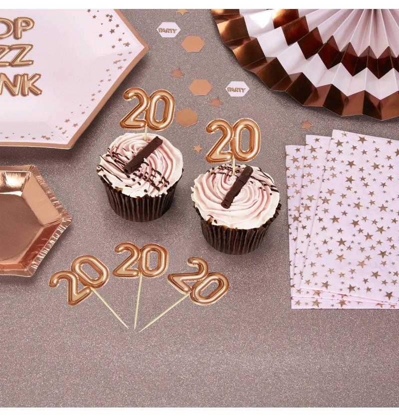 "Set de 20 palillos decorativos ""20"" en oro rosa - Glitz & Glamour Pink & Rose Gold"