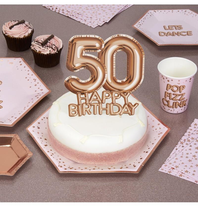 "Decoración para tarta ""50 Happy Birthday"" en oro rosa - Glitz & Glamour Pink & Rose Gold"