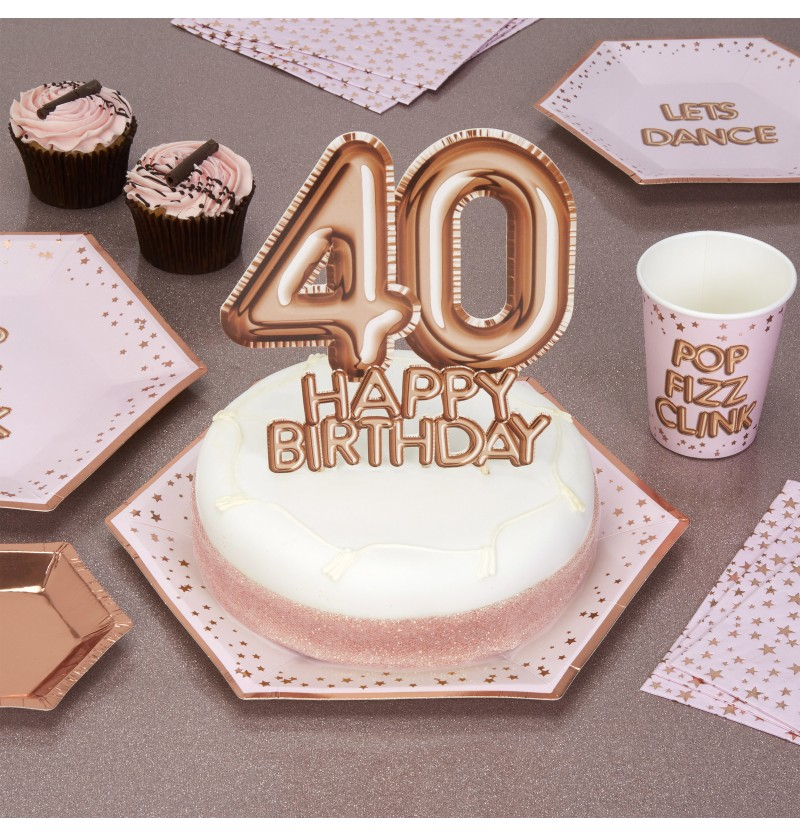 "Decoración para tarta ""40 Happy Birthday"" en oro rosa - Glitz & Glamour Pink & Rose Gold"
