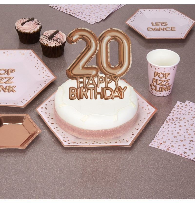 "Decoración para tarta ""20 Happy Birthday"" en oro rosa - Glitz & Glamour Pink & Rose Gold"