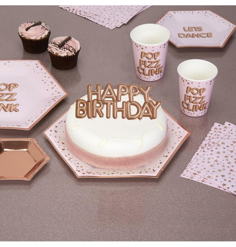 "Decoración para tarta ""Happy Birthday"" en oro rosa - Glitz & Glamour Pink & Rose Gold"
