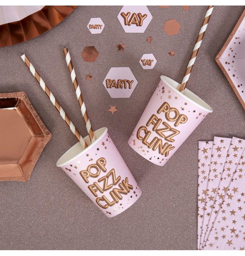 "Set  de 8 vasos de papel ""Pop, Fizz, Clink"" - Glitz & Glamour Pink & Rose Gold"