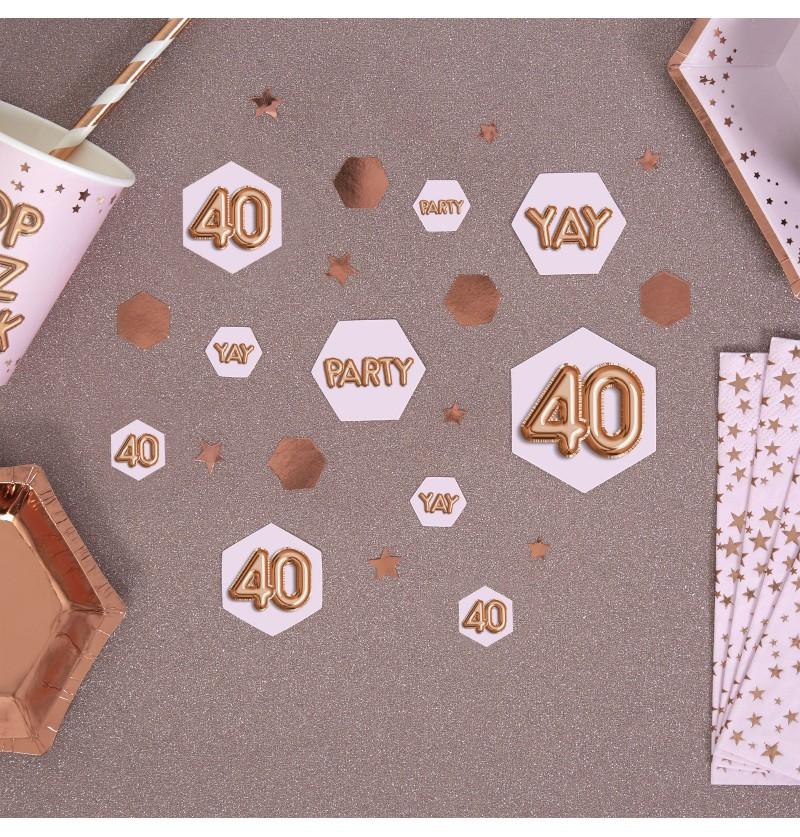 "Confeti para mesa ""40"" - Glitz & Glamour Pink & Rose Gold"