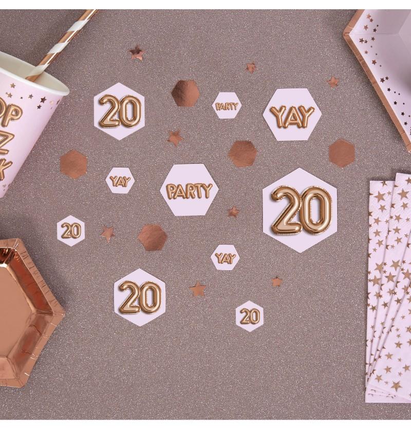 "Confeti para mesa ""20"" - Glitz & Glamour Pink & Rose Gold"