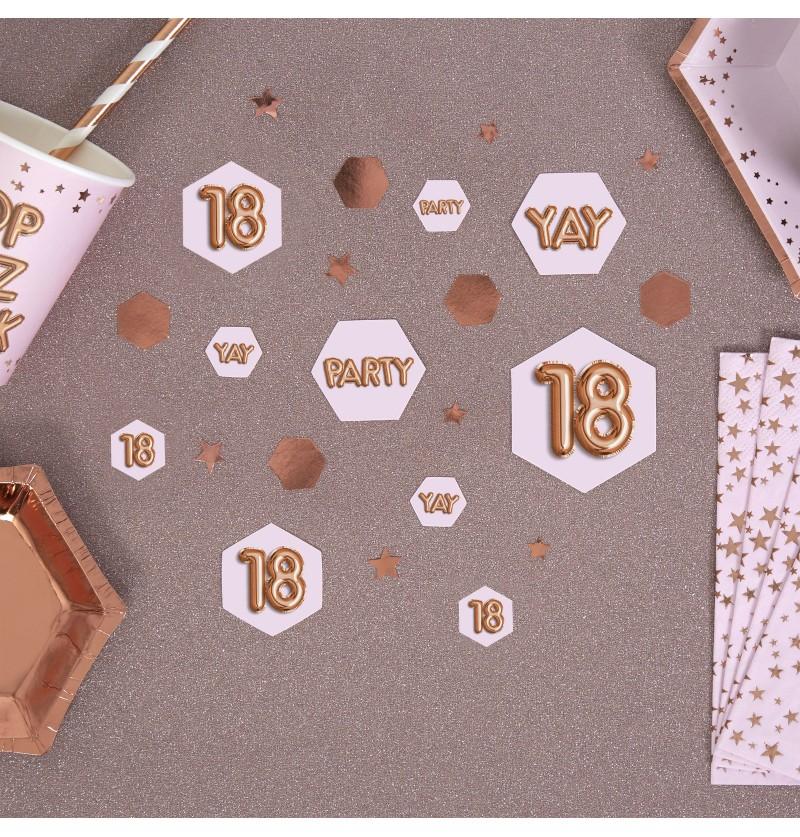 "Confeti para mesa ""18"" - Glitz & Glamour Pink & Rose Gold"