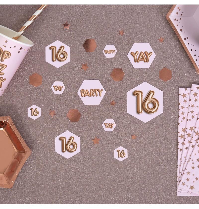 "Confeti para mesa ""16"" - Glitz & Glamour Pink & Rose Gold"