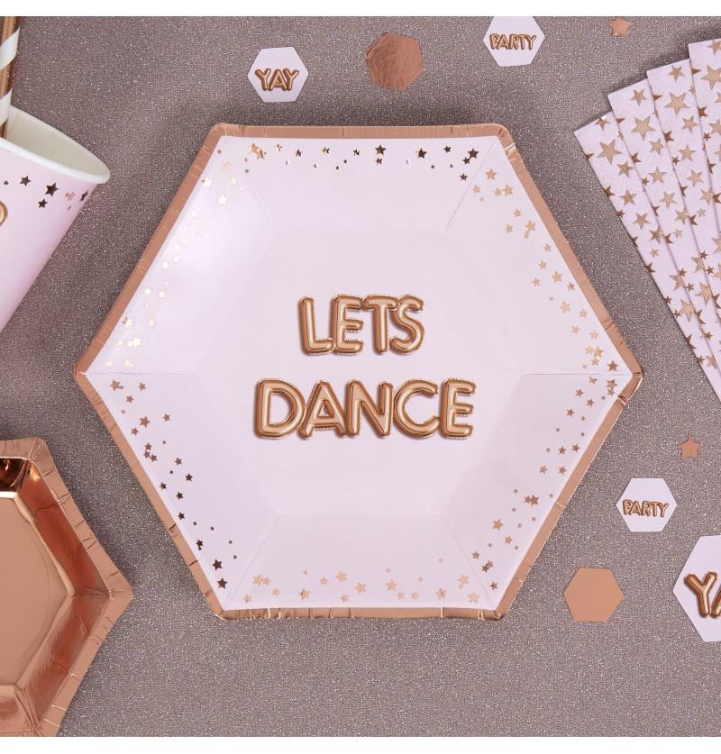 """Set de 8 platos hexagonales medianos """"Lets Dance"""" de papel - Glitz & Glamour Pink & Rose Gold"""