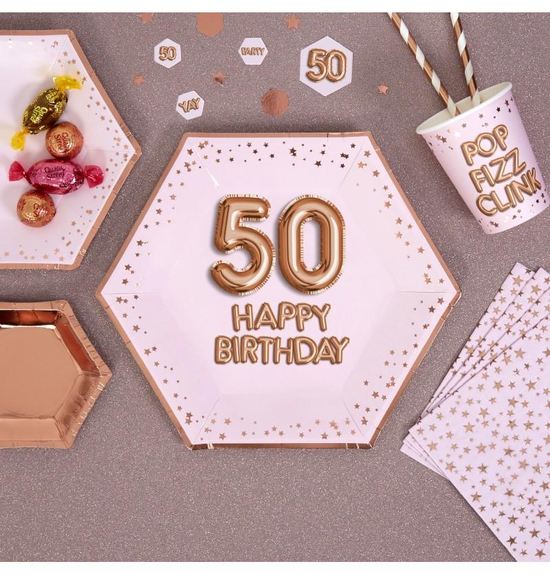 "Set de 8 platos hexagonales ""50 Happy Birthday"" de papel - Glitz & Glamour Pink & Rose Gold"