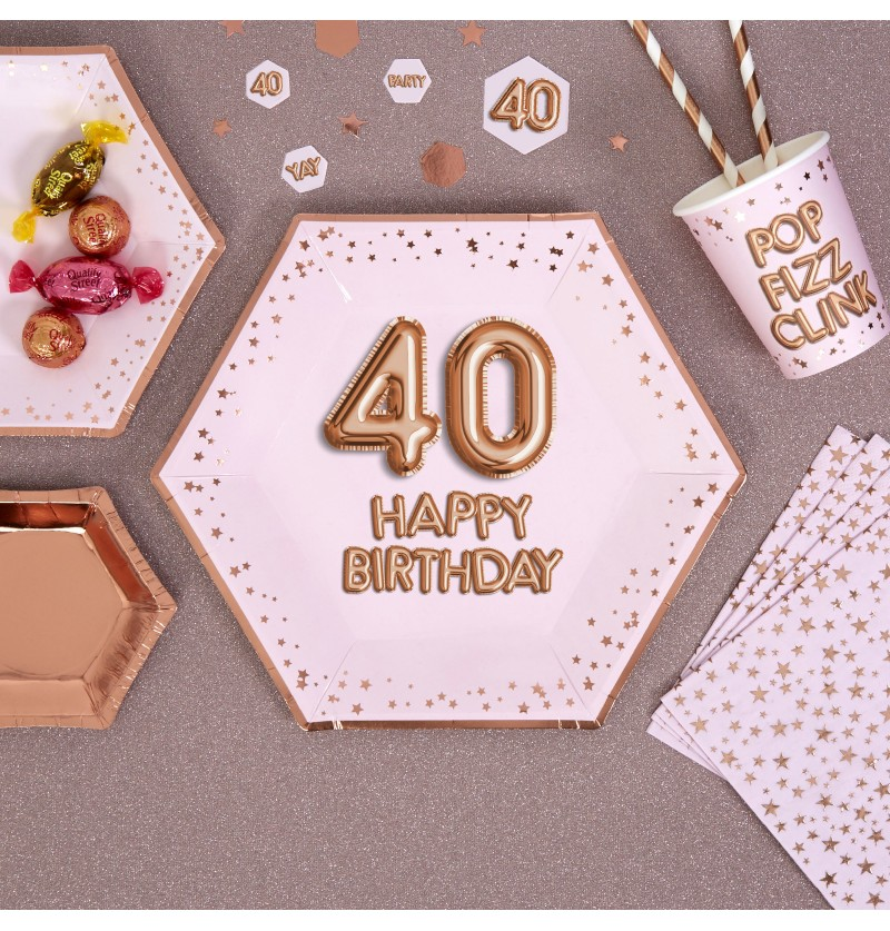 "Set de 8 platos hexagonales ""40 Happy Birthday"" de papel - Glitz & Glamour Pink & Rose Gold"