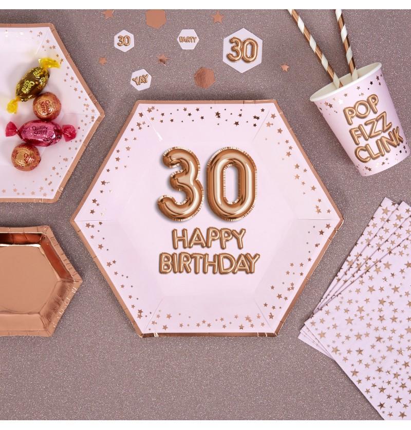 "Set de 8 platos hexagonales ""30 Happy Birthday"" de papel - Glitz & Glamour Pink & Rose Gold"