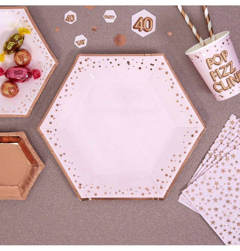 Set de 8 platos hexagonales de papel - Glitz & Glamour Pink & Rose Gold