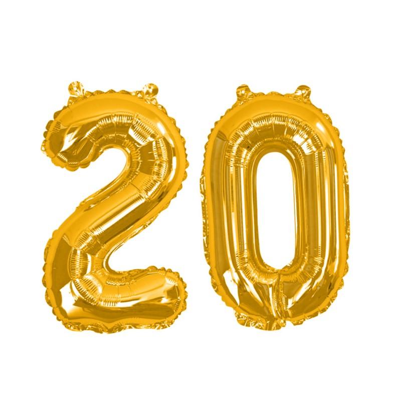 """Globo foil """"20"""" en dorado - Glitz & Glamour Black & Gold 40cm"""