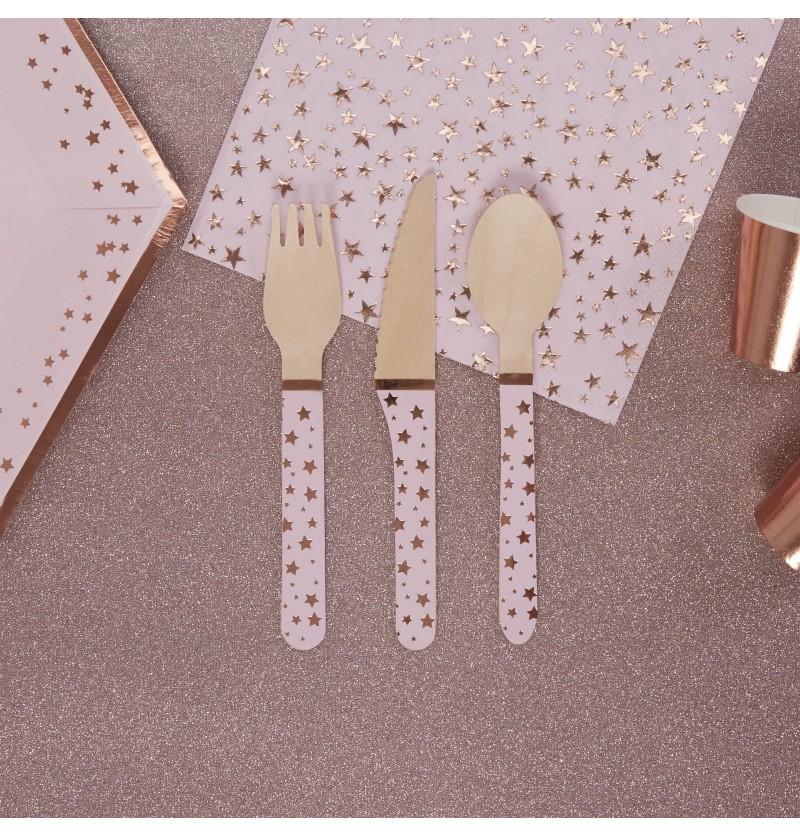Set de 24 cubiertos de madera - Glitz & Glamour Pink & Rose Gold