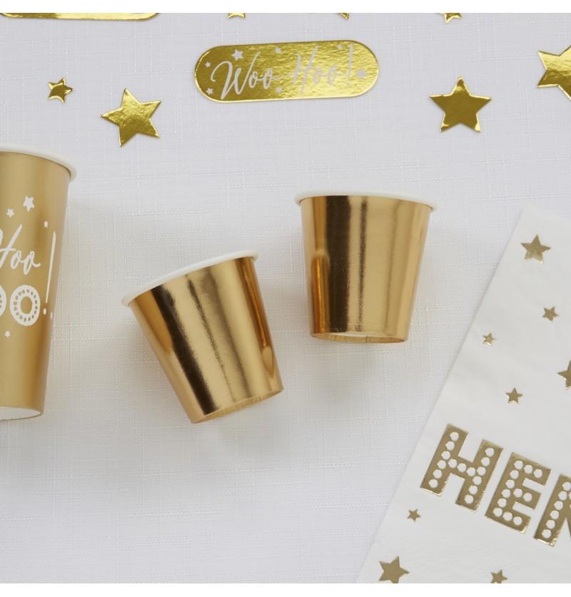 Set de 8 vasos pequeños dorados de papel - Woo Hoo Hen DO