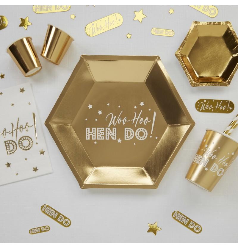 Set de 8 platos hexagonales dorados de papel - Woo Hoo Hen Do