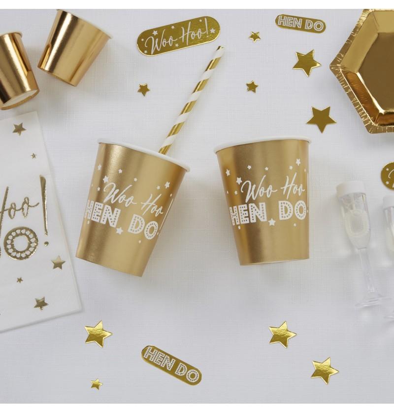 Set de 8 vasos dorados de papel - Woo Hoo Hen Do