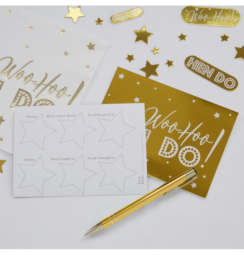 Set de 10 tarjetas divertidas de papel  - Woo Hoo Hen Do