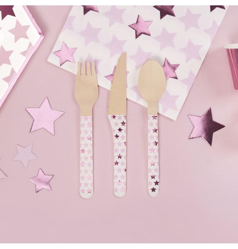 Set de 24 cubiertos de madera - Little Star Pink