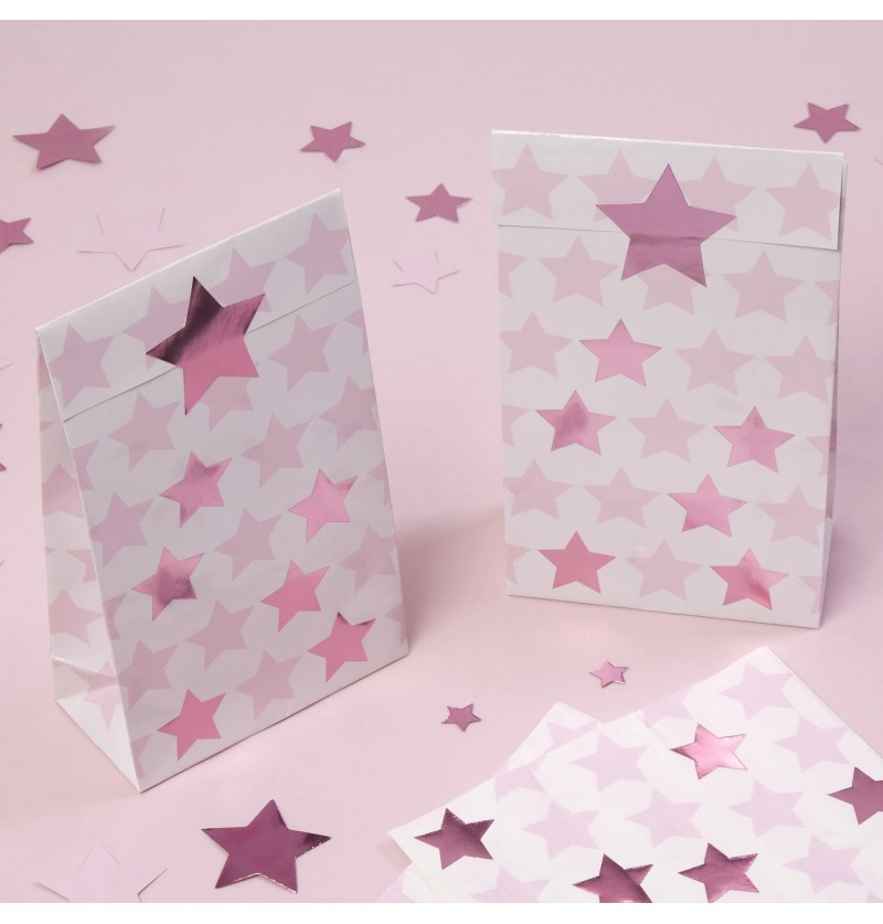 Set de 5 bolsas de regalo de papel - Little Star Pink