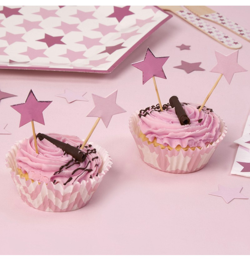 Set de 20 palillos decorativos con forma de estrella - Little Star Pink