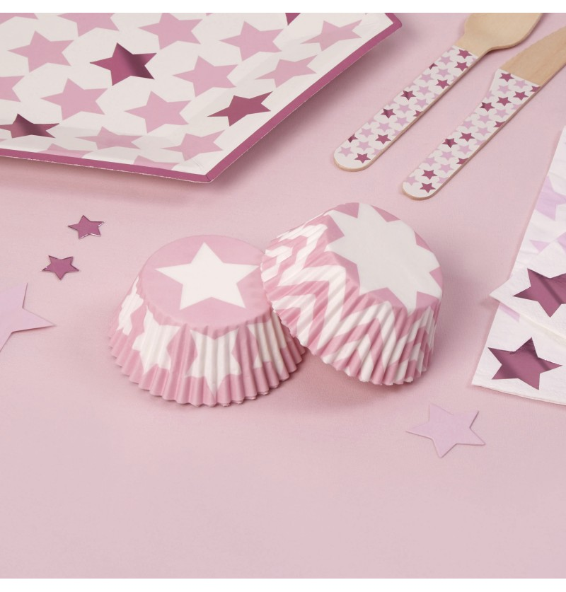 Set de 100 bases para cupcakes de papel - Little Star Pink