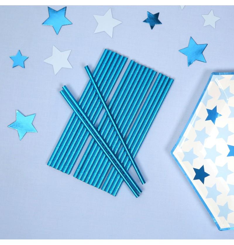 Set de 25 pajitas azules de papel - Little Star Blue