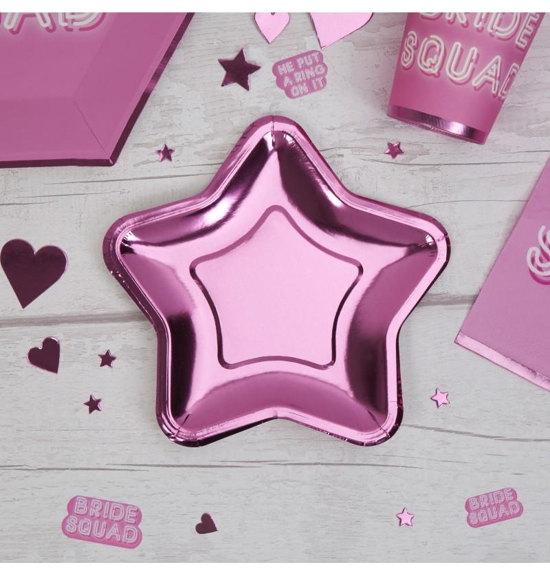 Set de 8 platos con forma de estrella rosa de papel - Little Star Pink