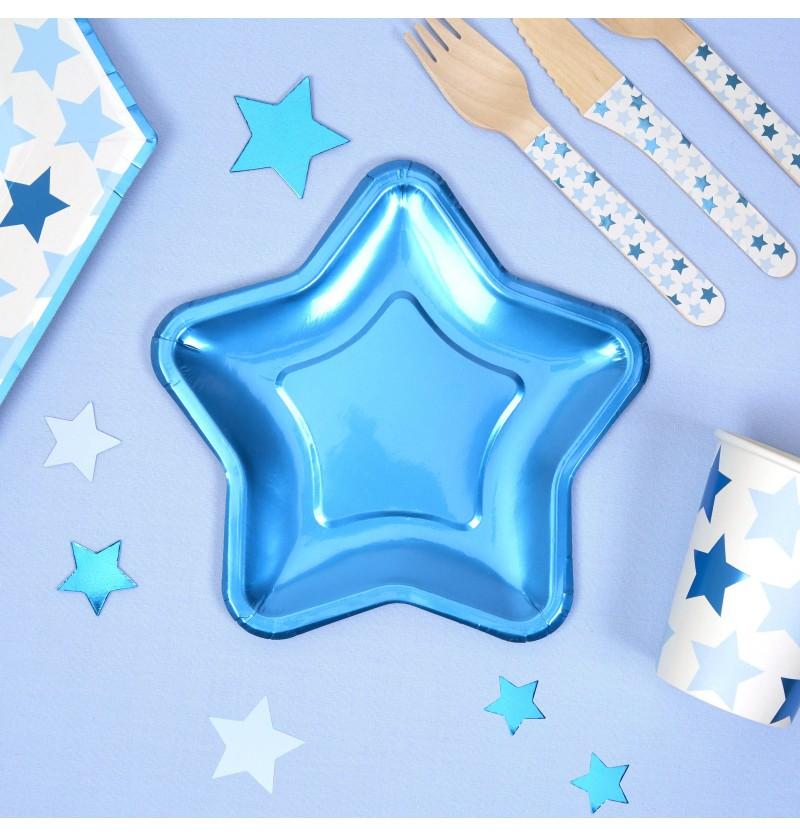 Set de 8 platos con forma de estrella azul de papel - Little Star Blue