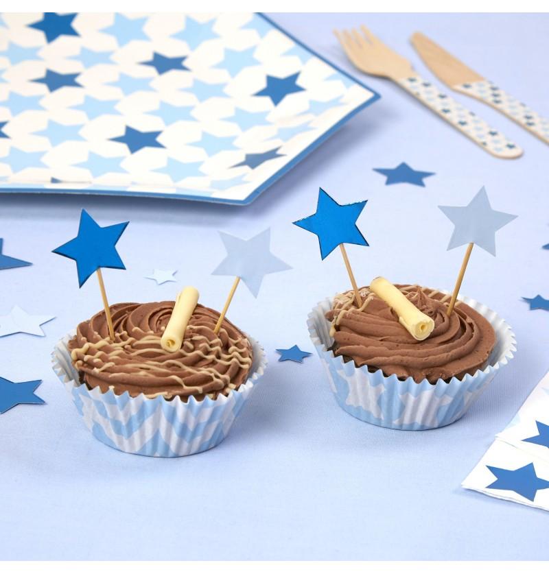 Set de 20 palillos decorativos con forma de estrella - Little Star Blue