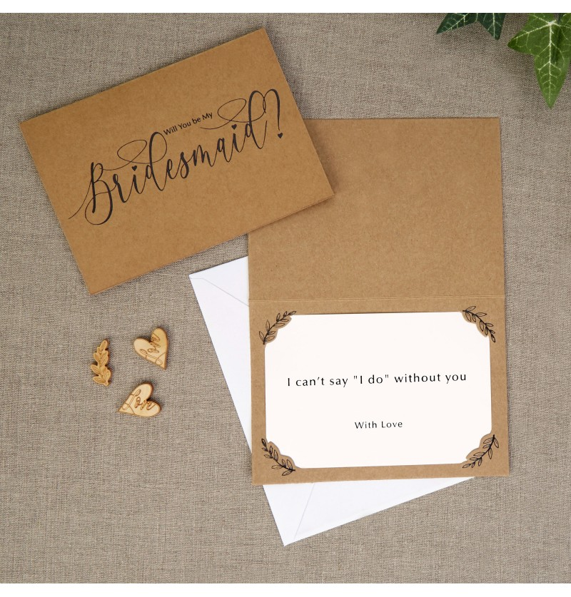 Set de 3 invitaciones para dama de honor de papel - Hearts & Krafts