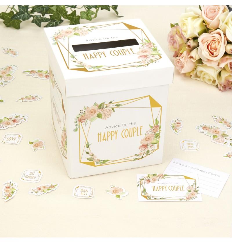 Caja de buenos deseos de papel - Geo Floral