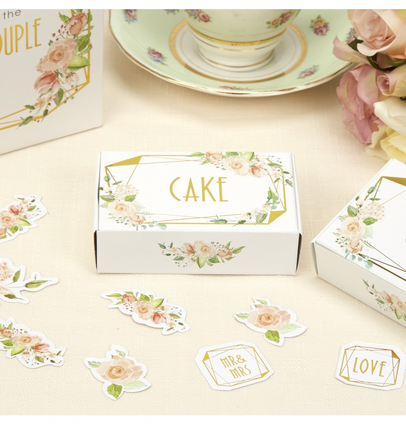 Set de 10 cajas para tarta de papel - Geo Floral