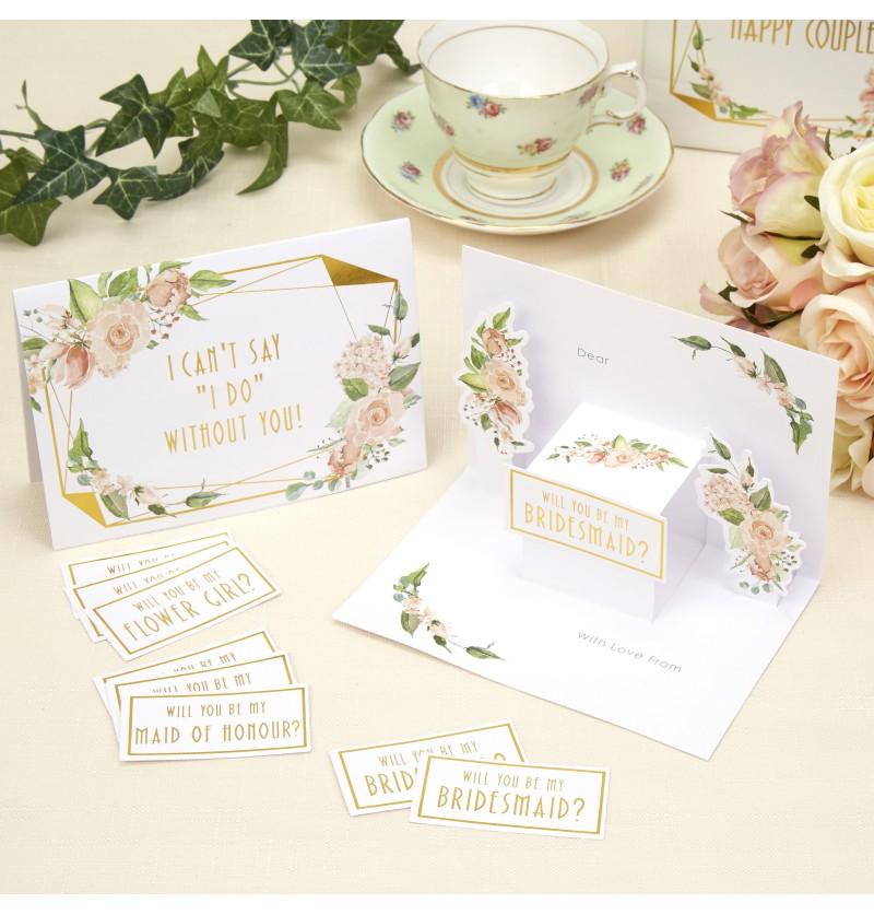 Set de 3 invitaciones especiales de papel - Geo Floral