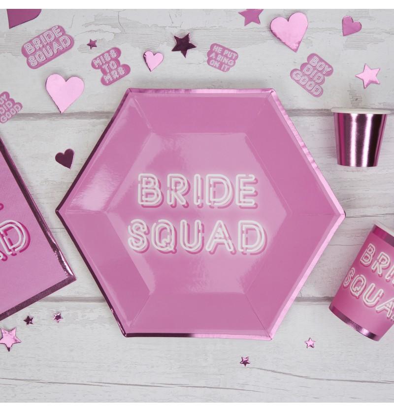 Set de 8 platos hexagonales rosas de papel - Bride Squad