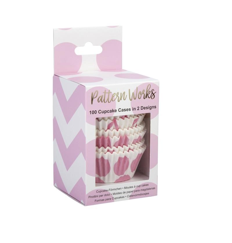 Set de 100 bases para cupcakes rosas de papel - Pattern Works