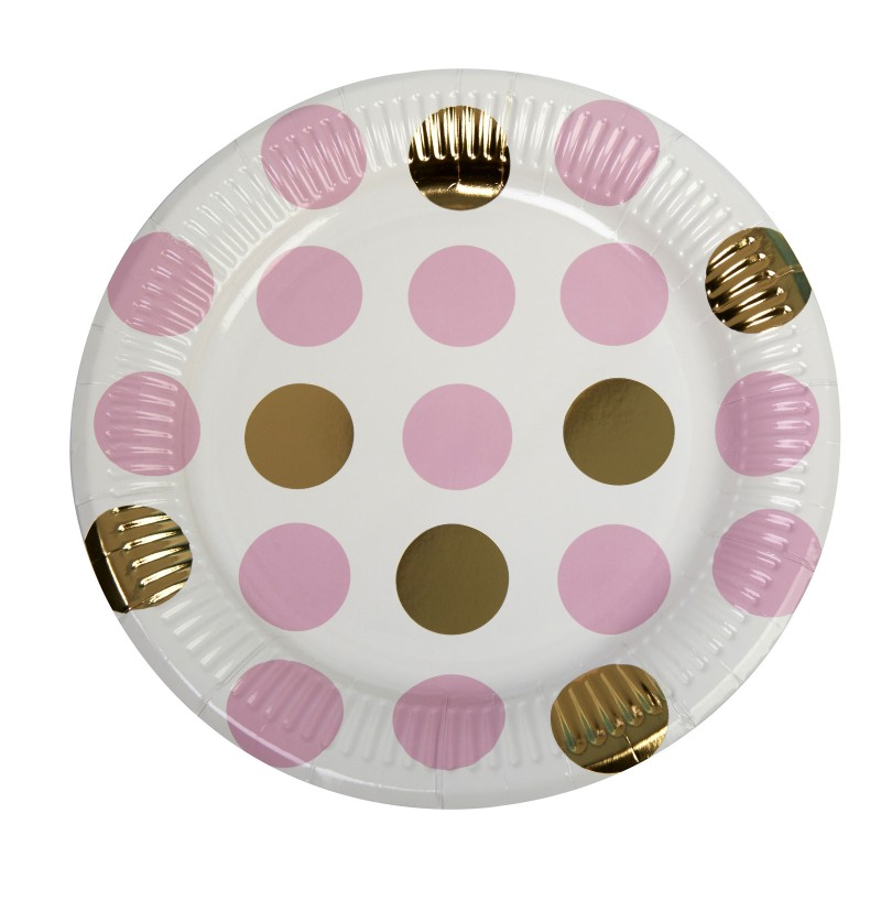 Set de 8 platos de lunares rosas y dorados de papel - Pattern Works