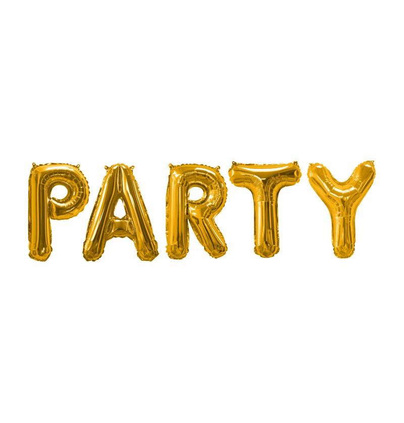 """Kit globo foil """"Party"""" en dorado - Glitz & Glamour Black & Gold"""