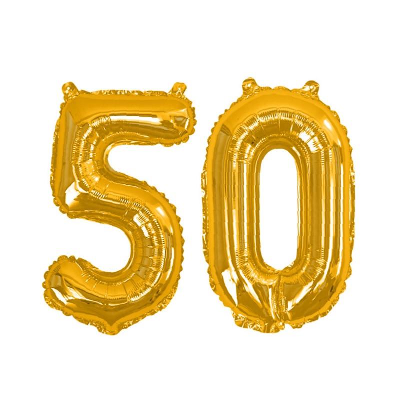 """Globo foil """"50"""" en dorado - Glitz & Glamour Black & Gold 40cm"""