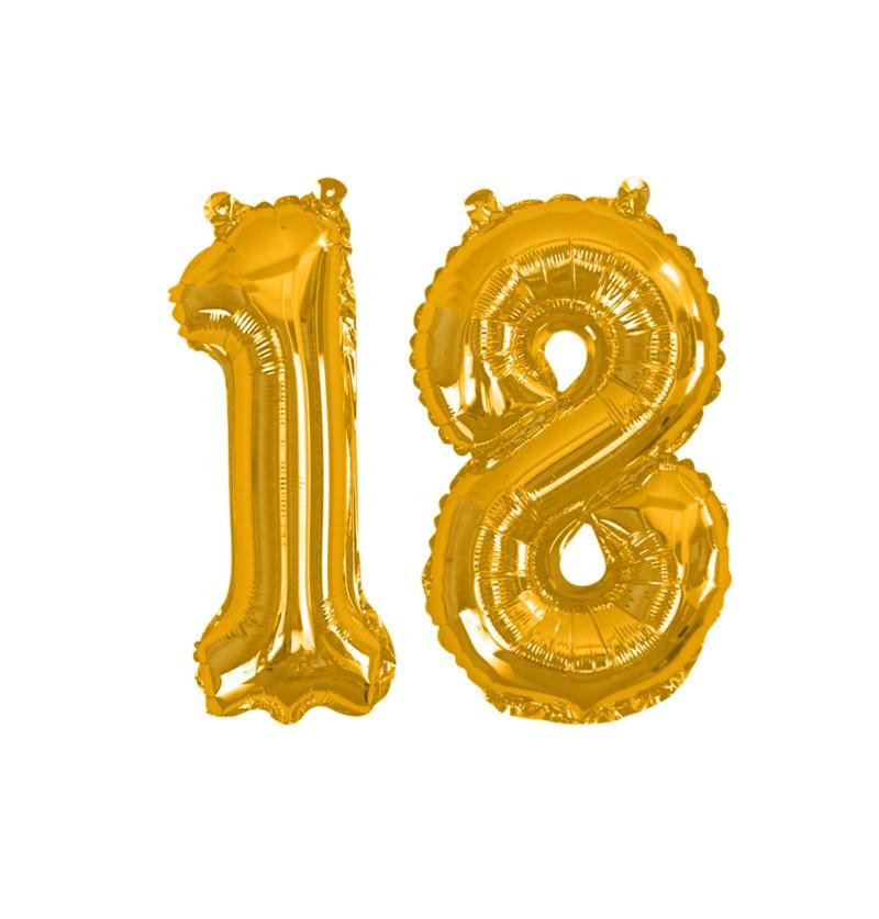 """Globo foil """"18"""" en dorado - Glitz & Glamour Black & Gold  40cm"""