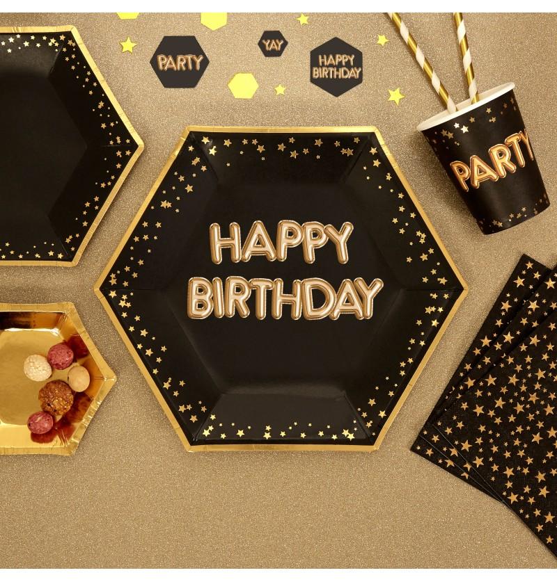 "Set de 8 platos hexagonales ""Happy Birthday"" de papel - Glitz & Glamour Black & Gold"