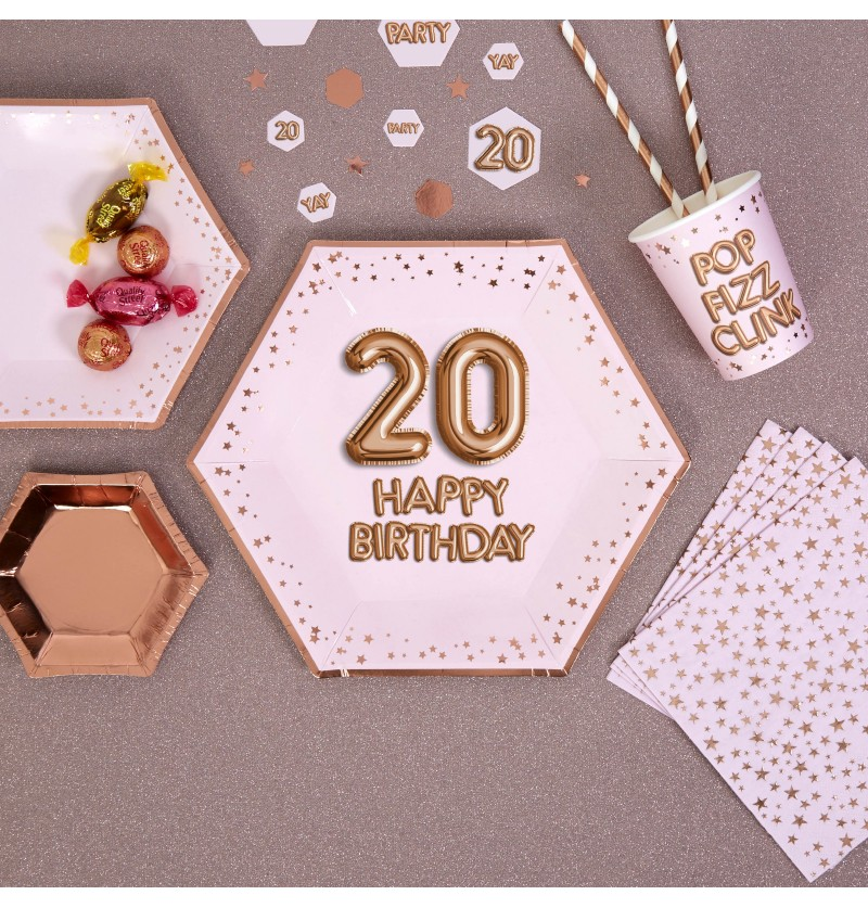 "Set de 8 platos hexagonales ""20 Happy Birthday"" de papel - Glitz & Glamour Pink & Rose Gold"